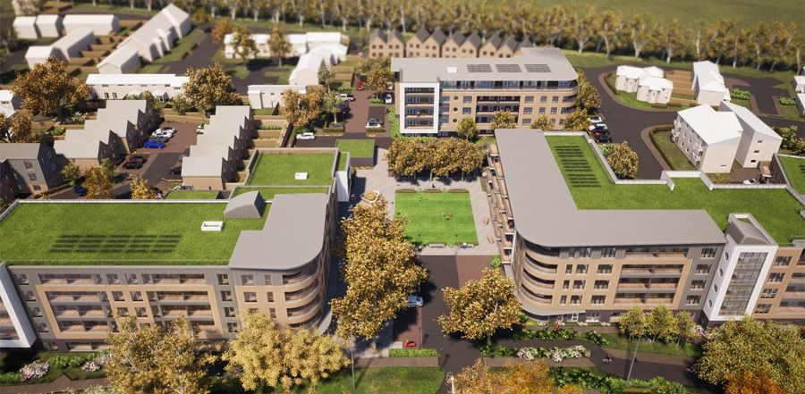Aerial view of artists impression of Kenilworth Close