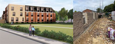 Artists impression of Symonds Green housing development and construction