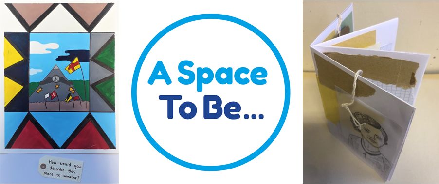 A Space To Be logo and two examples of work done in workshops
