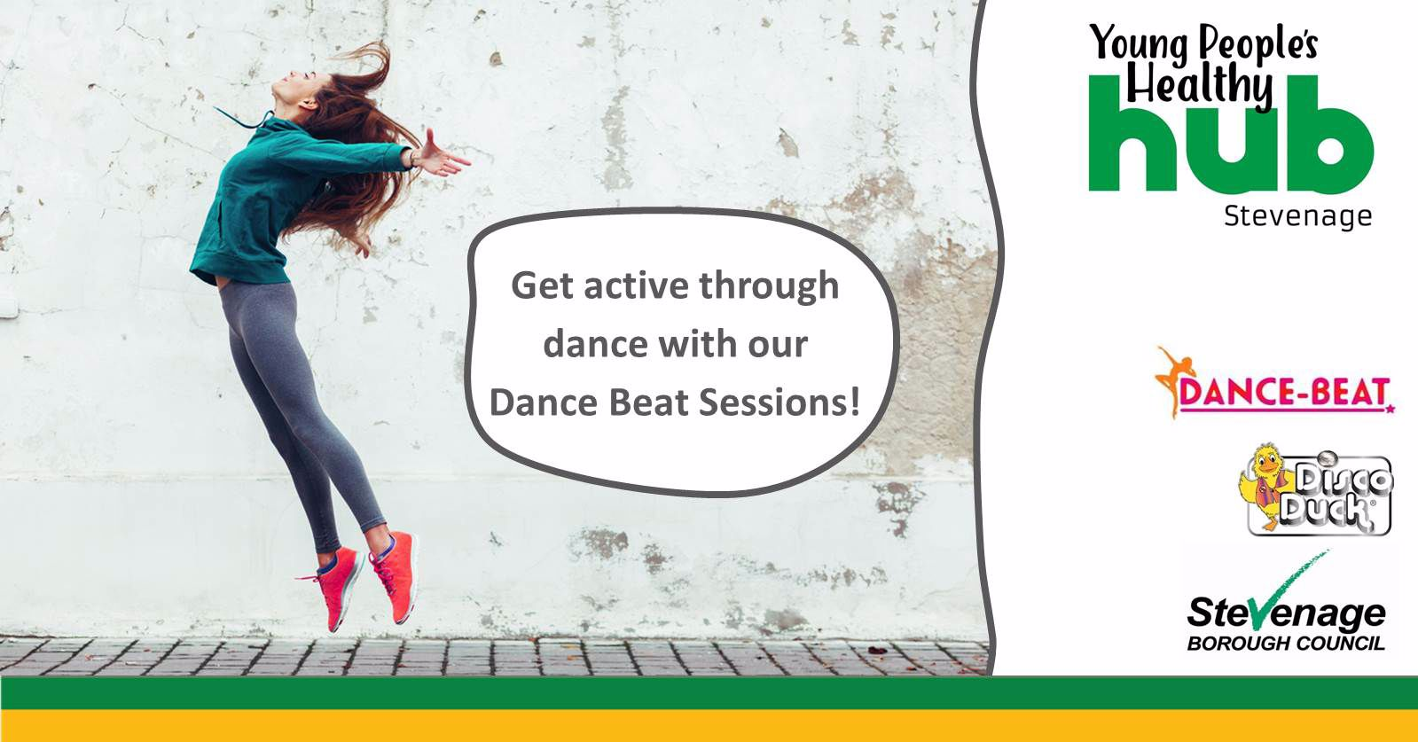 Image of a girl dancing, also shows Young People's Healthy Hub, Dance-Beat and Disco Duck logos