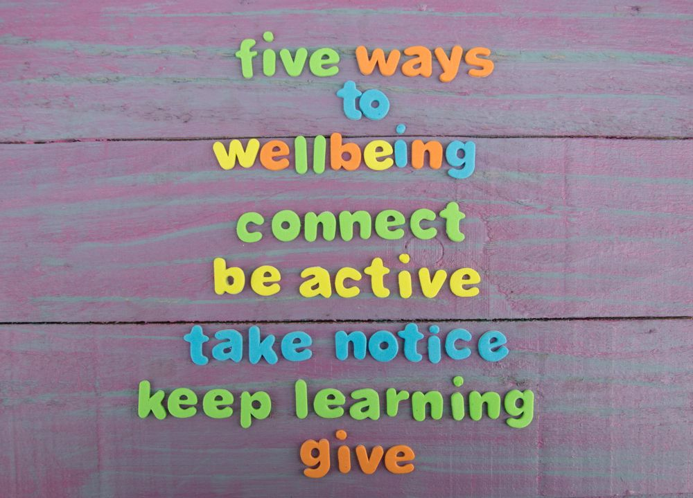 "The five ways to wellbeing; ""connect"", ""be active"", ""take notice"", ""keep learning"" and ""give"""