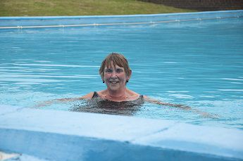 Sue Church in the swimming pool at Barnwell School