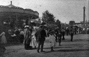 People walking around the fair