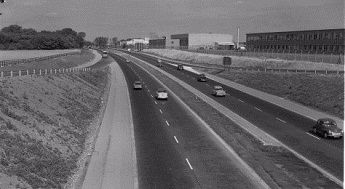 The newly completed by-pass in 1962, looking north from what is now junction 7