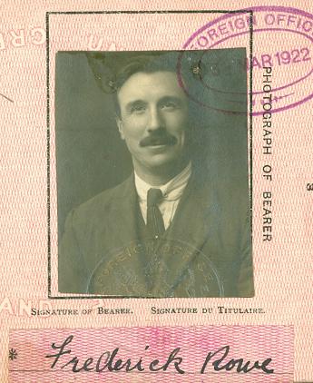 Fredrick Rowe passport photo 1922