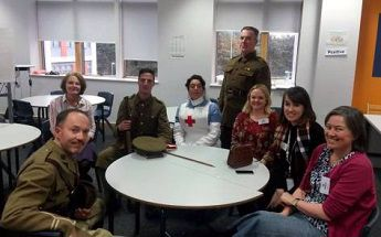 Museum staff, Knebworth House staff and actors at The Nobel School for a WWI day
