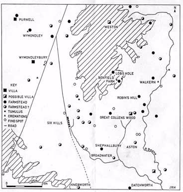 Iron Age and Roman sites in the Stevenage