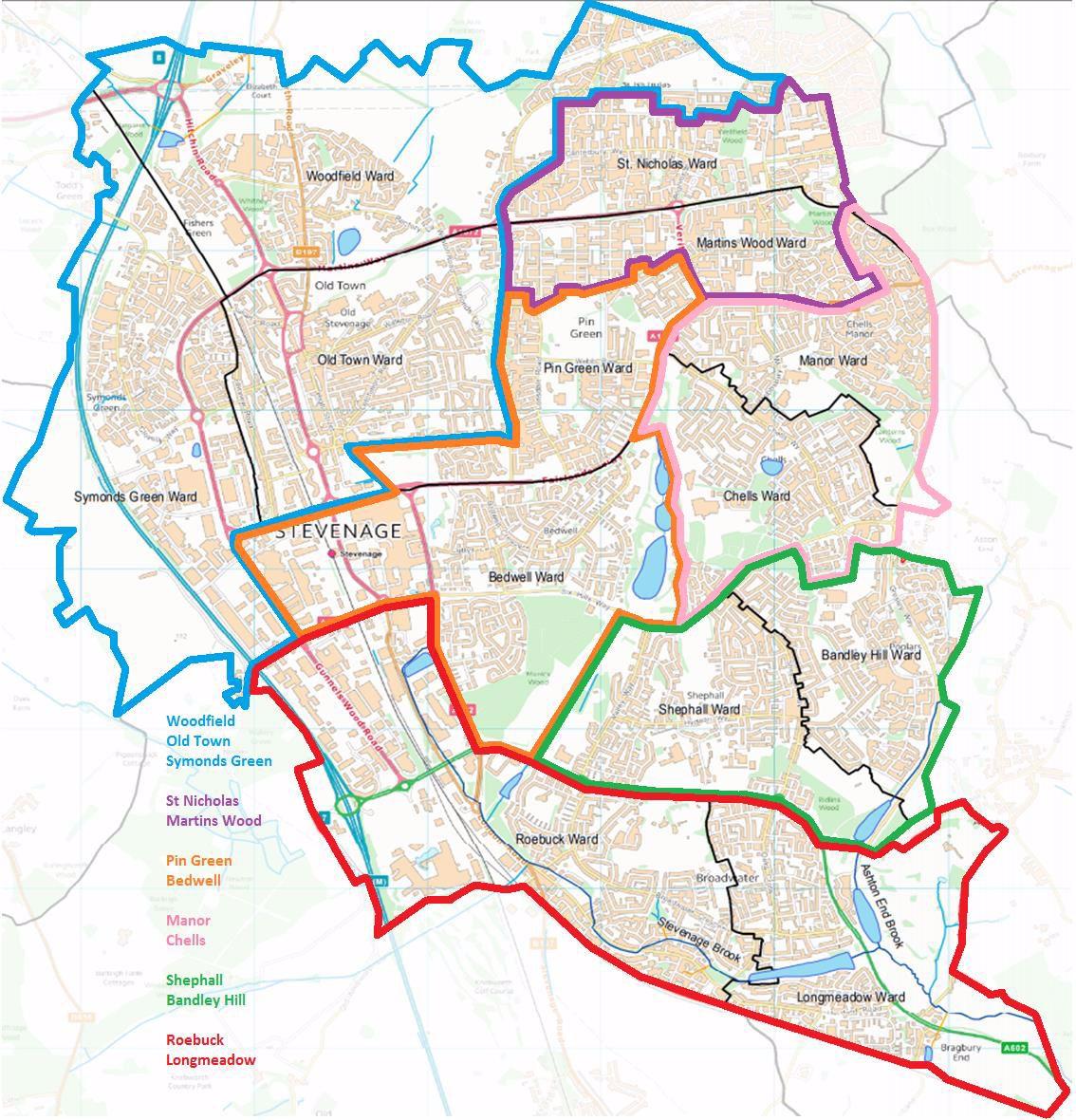 Map of the 6 Co-operative Neighbourhood teams.