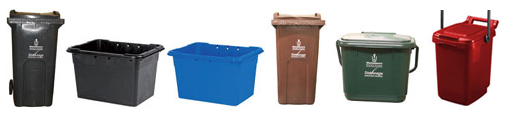 Refuse and recycling boxes and containers